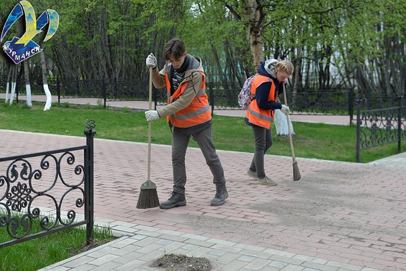 В Мурманске подростки зарабатывают, убирая парки
